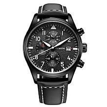Waterproof Fashion Analog Watch Luxury Genuine Leather Strap Quartz Wristwatch with Calendar