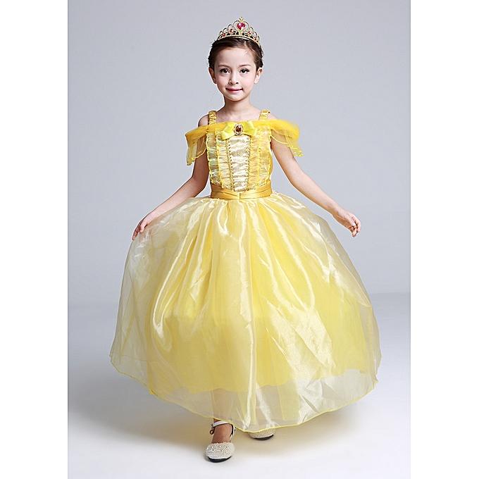 e5613b6f98d7 Fashion Dress for Kids Costume Rapunzel Party Wedding Dress Costume Kids  Girls Princess Dress Belle Sleeping Beauty Aurora Costume-yellow