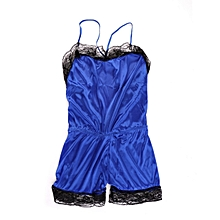 Sexy Women Loose Lace Patchwork Spaghetti Strap Backless Short Jumpsuits