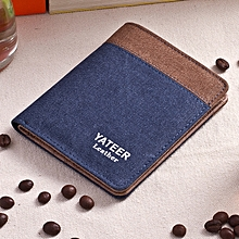 Canvas Men's Wallet Men's Short Wallet Korean Retro Student Coin Purse Card Pack-blue1