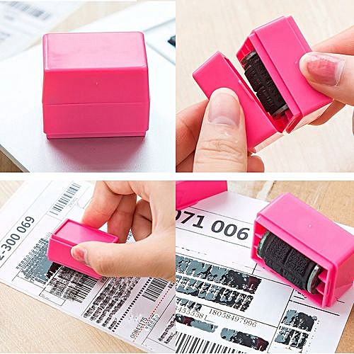 Generic Houseworkhu 1Pcs Guard Your ID Roller Stamp SelfInking Messy Code Security Office PK Pink
