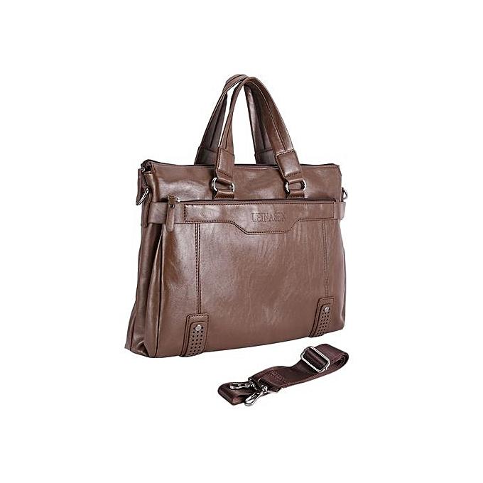UJ Men Briefcase Business Male Single Shoulder Bag Soft Leather Messenger  Bags-light Brown 123629b16918d