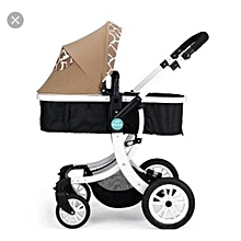 Unisex Explosion-proof Wheel Baby Stroller -brown/black