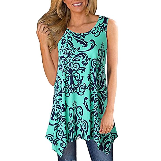 f06f666f13 Hiaojbk Store Women s Casual Irregular Printed Sleeveless Asymmetrical  Loose Tunic Blouse Tops-Green