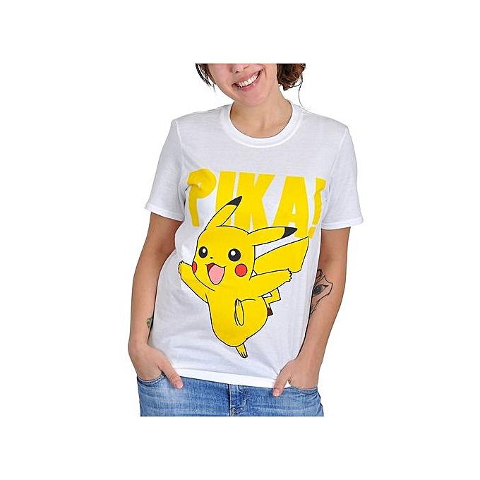 7f1084ab Custom Personality T-shirt Pokemon T Shirt Pikachu Pika!l Nintendo Womens  White Short