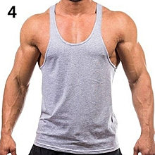 Men's Fashion Sports Vest Soft Cotton Gym Tank Tops Sexy Outdoor Exercise Shirt-Grey