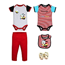 Boys Short Sleeved Bodysuits & Pants 5 Piece Set - Mommy's Little Wing Man