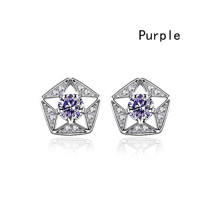 New Women Fashion Trending Rhinestone Ball Earring Hollow Five Pointed Star Studs Diamond Crystal Hypoallergenic