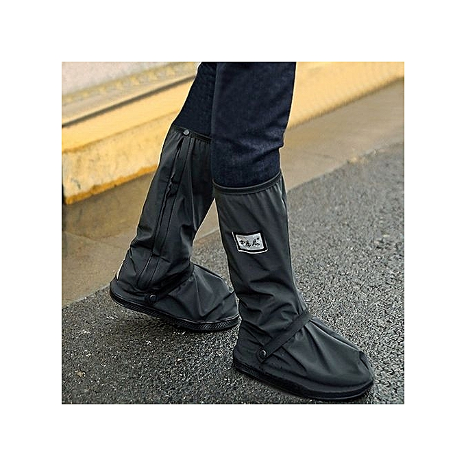 Motorcycle Outdoor Waterproof Thicker Non Slip Gaotong Rain Shoe Covers Black