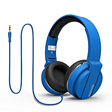 ENCORE- Blue On Ear Wired Headset With Cushioned Foldable Headband & ABS ear cups