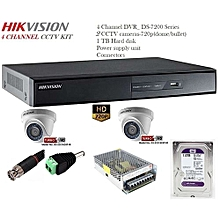 2 Camera CCTV Installation Kit- HikVision: 4ch DVR, 1TB HDD, 2 cctv 720p(Dome), Power Supply Unit, Connectors(4BNC,2DC)