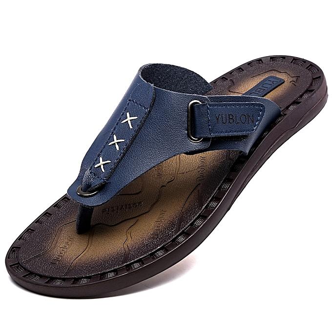 19ad52545 Generic Mens Summer Beach Male Slippers Flip Flops Velcro Colsure ...