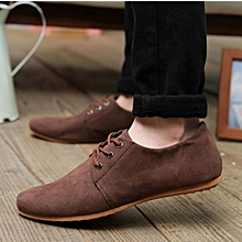 Men Casual Suede Loafers 2018 Brown Solid Leather Driving Moccasins Gommino Slip on Men Formal Loafers Shoes-brown