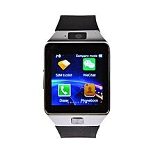 New DZ09 With Sim Toolkit Menu ( Mpesa Menu) Smart Watch Phone - Silver/Black