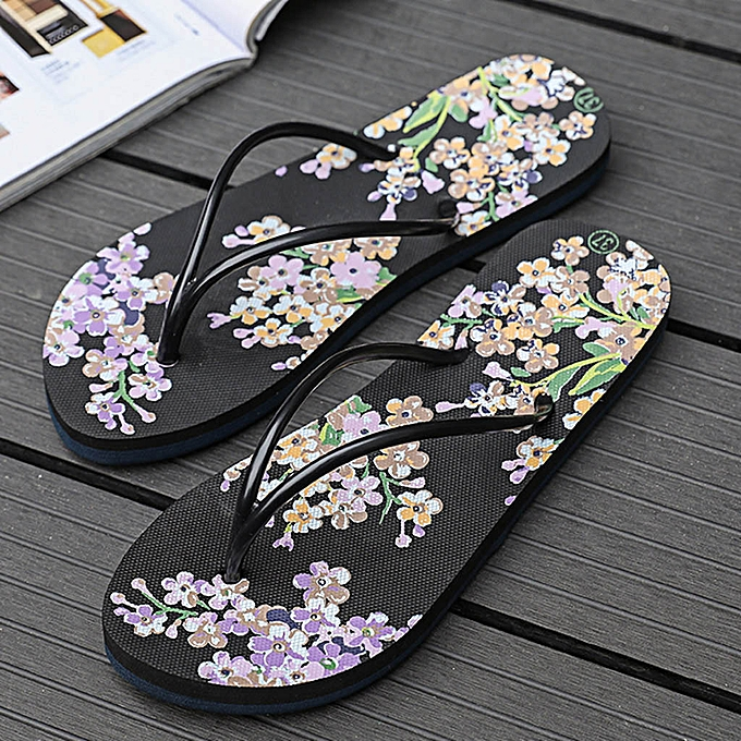 50a0dbe4ee5225 Fashion birthpar store Women Ladies Girls Floral Flat Flip Flops Casual  Sandals Slippers Beach Shoes-Black