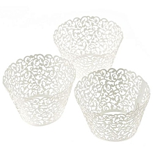100 Filigree Little Vine Lace Laser Cut Cupcake Wrapper Liner Baking Cup-White