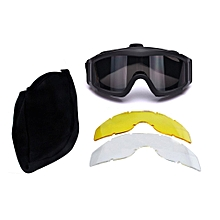 Tactical Camping Cycling Protective Goggles Protective Dustproof with 3 Lens