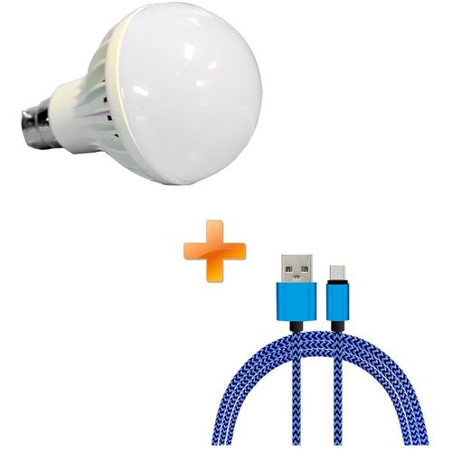 LED Intelligent Emergency Bulb 7W White, Get One Free Android Cable Blue