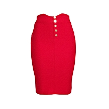 Red pencil skirt with front buttons