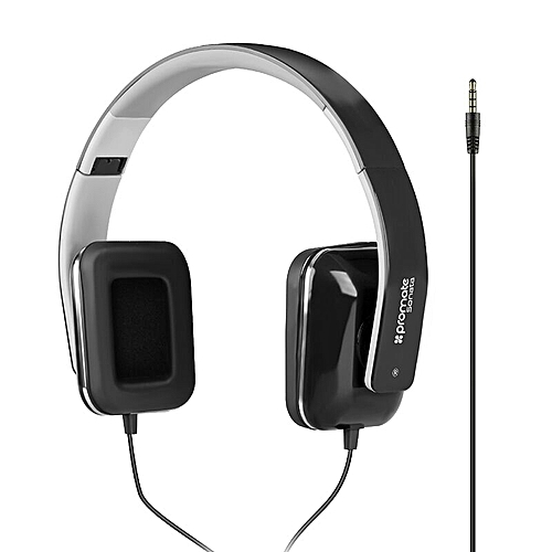 6b59d1ece12 Promate SONATA:Black On-Ear Stereo Wired Foldable Headphones @ Best ...