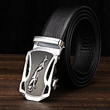 Men's belt automatic buckle belt lychee pattern automatic belt Jaguar PU belt male business casual-125CM-Silver