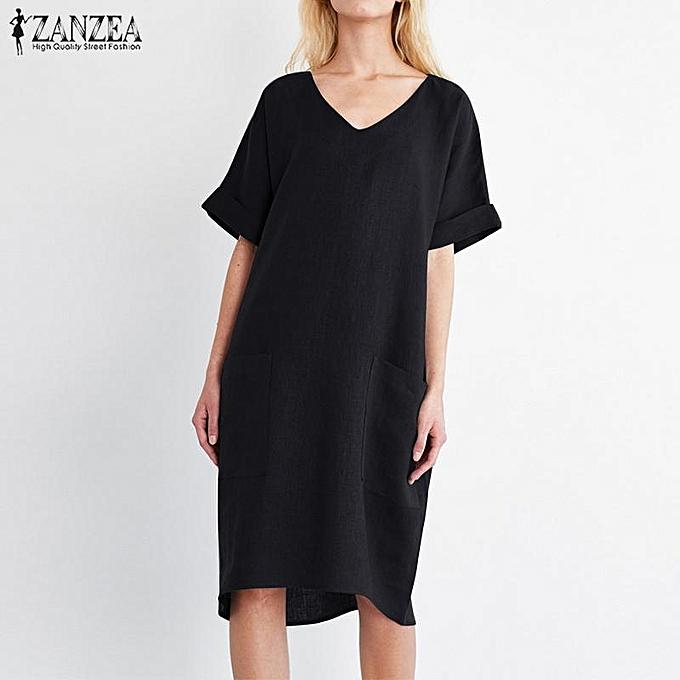 7482474a7322 ZANZEA S-5XL ZANZEA Women V Neck Short Sleeve Casual Summer Tunic ...