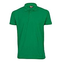 Green Men's T-Shirt With A Plain Collar