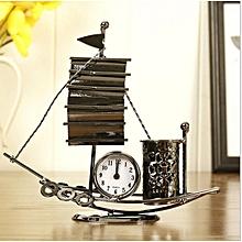 Creative Iron Craft 12cm Height Sailboat Clock Home Decor Desk Cabine Gift