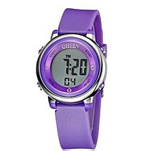 2016 OHSEN Brand Digital LCD Kids Girls Fashion Wristwatch Cute Pink Rubber Strap 30M Waterproof Child Watches Alarm Hand Clocks(Purple)