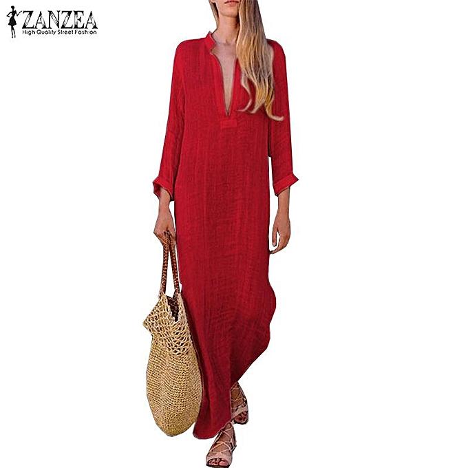 e367297e5a ZANZEA Women Cotton Ethnic Long Maxi Dress Low Cut Casual Solid Full Length  Kaftan Tops