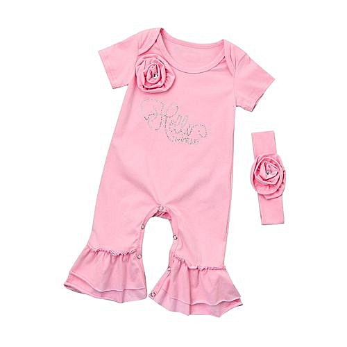 ade342bcf88b Eissely Cute Newborn Infant Baby Girl Boy Flower Solid Print Romper Jumpsuit  Clothes