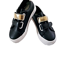 Unisex Casual Shoes For Kids- Black,White And A Dash of Gold