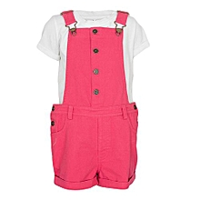 Ivory & Raspberry Girls Dungaree Shorts & T-Shirt Set