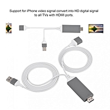 Phone to HDMI Adapter Phone to HDMI Cable Lightning Digital AV Adapter 1080P Plug Play for IOS Android Red