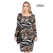 Brown Animal Print Plus Size Bodycon Dress