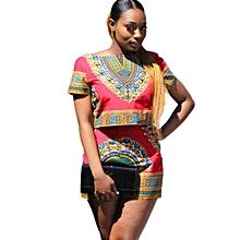 Women Dashiki  African Printing Short Sleeve 2 Piece Set Sportswear