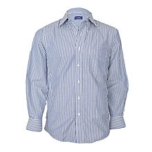 White With Navy Blue Striped Long Sleeved Shirt