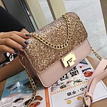 Ladie's Handbag Sling Bag Shiny Square PU Leather Bag-pink