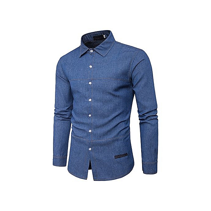 cbbeb104 Hiaojbk Store Men's Autumn Casual Fashion Slim Fit Denim Cotton Long Sleeve  Shirt Top Blouse-