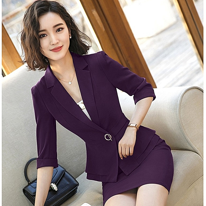 72deaa5a774a3 Generic New Sleeve Professional Pants Formal Office Lady Tops-purple ...