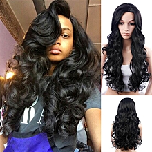 Wig Soft Hair Extension Synthetic Headwear Women Hair Accessory Long Curls-black