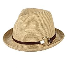 Men England Woven Straw Cap Outdoor Short Brimmed Gardener Hat Visor