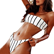 douajso Sexy Women Bikini Set Push-Up Padded Bow Stripe Printed Wrapped Chest Swimwear