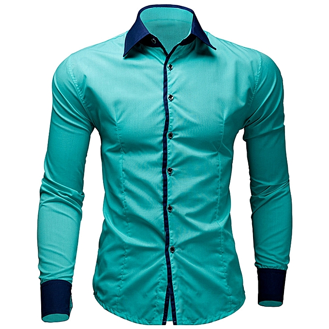 cd8a10297 jiuhap store Mens Casual Pure Color Long Sleeve Shirt Business Slim Fit Shirt  Printed Blouse-