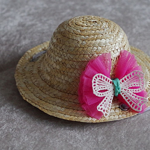 Allwin Summer Trendy Pet Dog Cat Cool Straw Hat Sun Hats Puppies Pet  Accessories rose red bowknot M   Best Price  54b20afbdf89