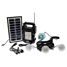 GD-8050 Solar Lighting System Kit with 3 LED Lights, Radio, Mp3 Player, Party Disco Light and Phone Charger