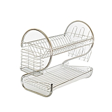 2 Tier Chrome Plated Dish Rack - Sliver