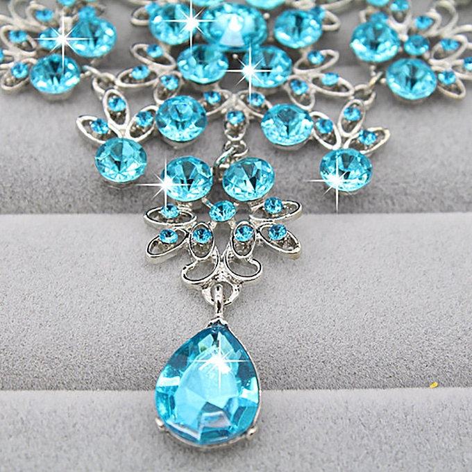 shioakp Prom Wedding Bridal Jewelry Crystal Rhinestone Necklace Earring Sets  LB 296bc528be17