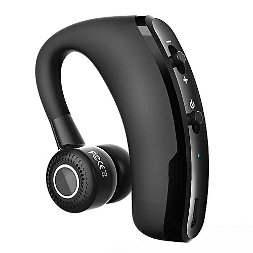 V9 Wireless Bluetooth Car Handsfree Earphone with Mic - Black