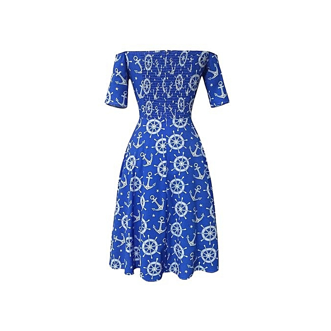 9f078e20a09a ... Trendy Off The Shoulder Half Sleeve Print A-line Women Dress - BLUE AND  WHITE ...